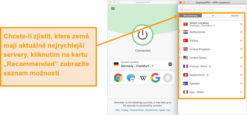 Screenshot aplikace ExpressVPN zobrazující doporučené servery