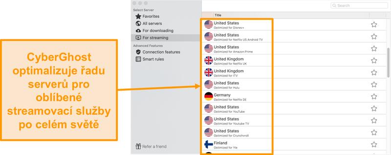 Screenshot aplikace CyberGhost pro Mac, který zobrazuje optimalizované servery pro streamování