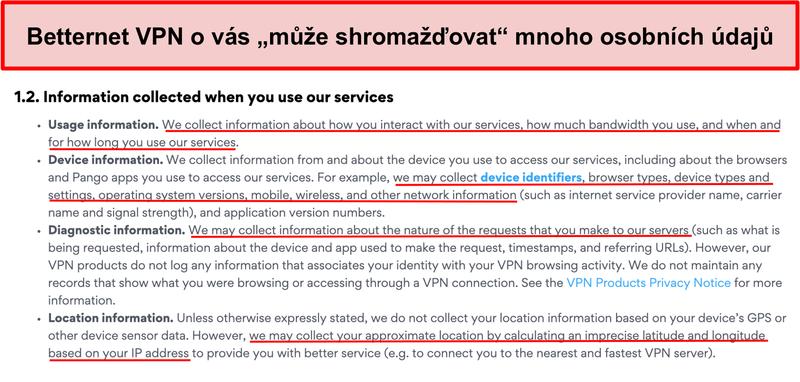 Screenshot zásad ochrany osobních údajů Betternet VPN