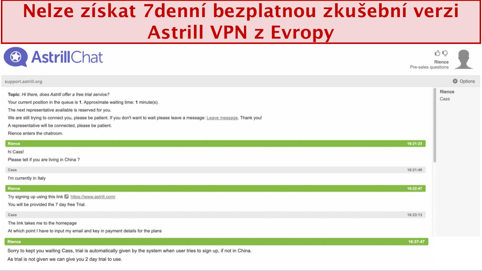 snímek obrazovky rozhovoru s týmem podpory Astrill VPN, kde není poskytována 7denní bezplatná zkušební verze, i když má uživatel sídlo v Evropě