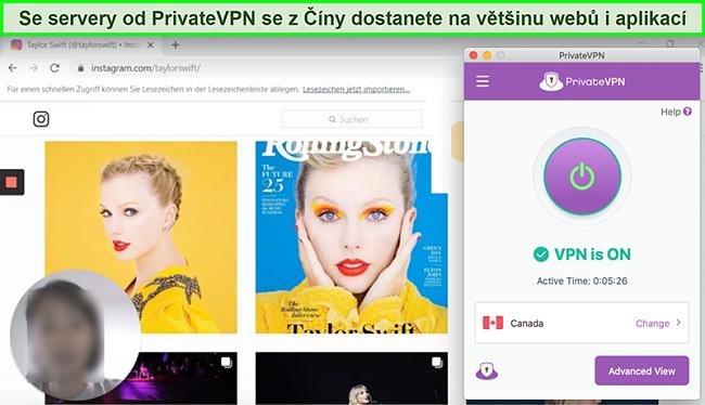 Screenshot z PrivateVPN připojeného k kanadskému serveru a odblokování Instagramu z Číny