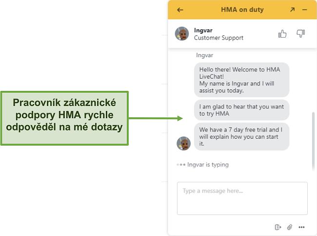 Screenshot živého chatu zákaznické podpory HMA