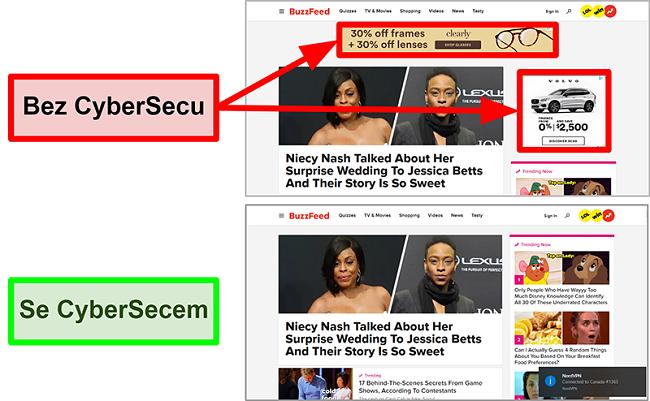 Screenshot domovské stránky BuzzFeed se zapnutou a vypnutou funkcí CyberSec od NordVPN