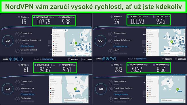 Screenshoty testů rychlosti s NordVPN připojeným k různým globálním serverům
