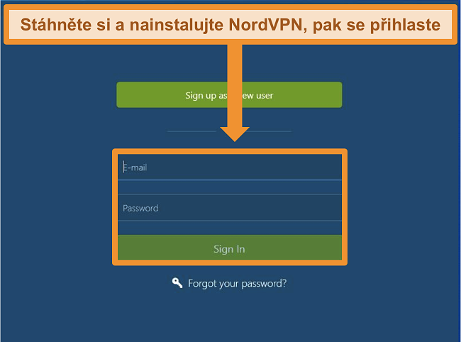 Screenshot obrazovky pro přihlášení do aplikace NordVPN pro Windows