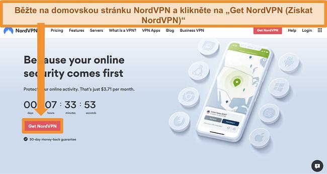 Screenshot z domovské stránky NordVPN