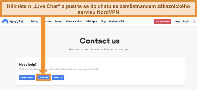 Screenshot stránky NordVPN Kontaktujte nás zobrazující tlačítko Live Chat