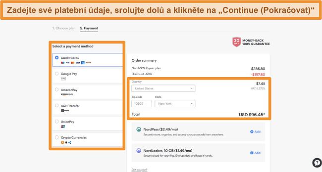 Screenshot platebních možností společnosti NordVPN