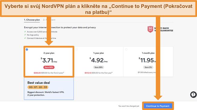 Screenshot stránky pro výběr plánu na webu NordVPN
