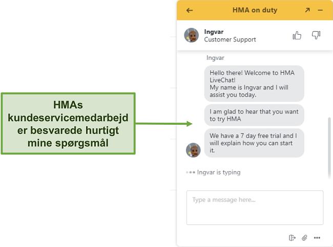 Skærmbillede af HMAs live support til kundesupport