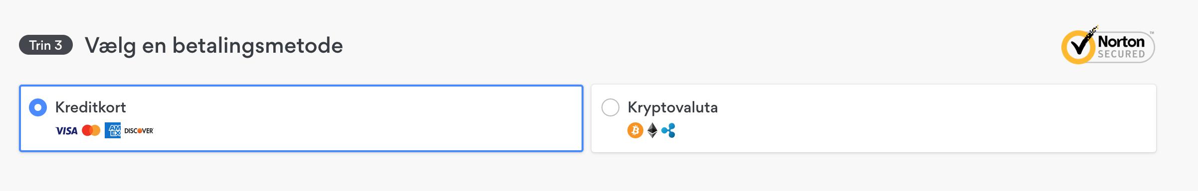Screenshot of payment options for NordVPN's hidden deals