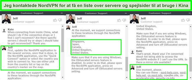 Screenshots af NordVPNs live chat, der foreslår servere og spejlsider, der er nyttige til at oprette forbindelse fra Kina