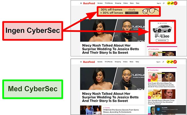 Skærmbillede af BuzzFeed-hjemmesiden med NordVPNs CyberSec-funktion slået til og fra