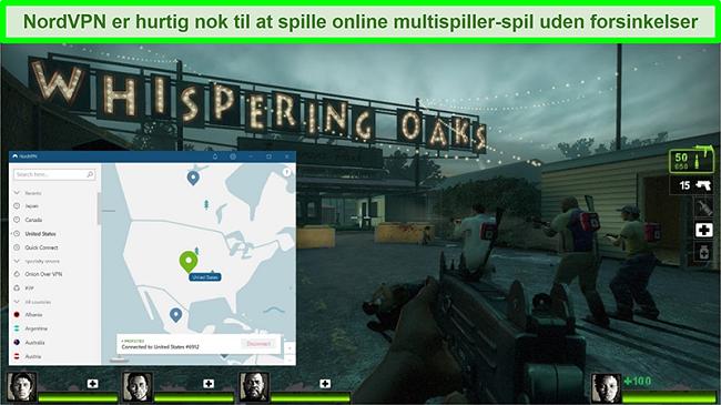 Skærmbillede af NordVPN forbundet til en amerikansk server, mens spillet Left 4 Dead 2 spiller