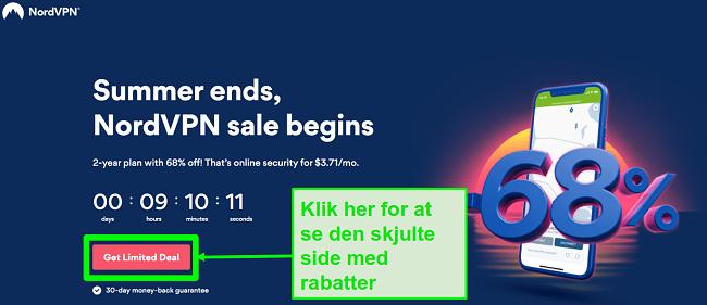Skærmbillede af NordVPN skjulte tilbudsside