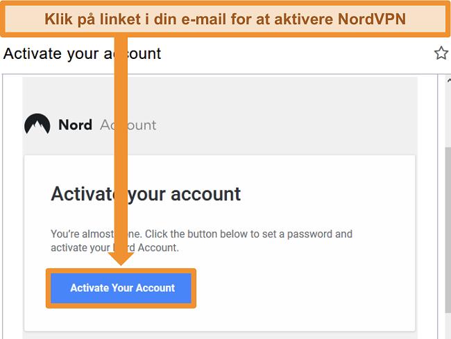 Skærmbillede af mulighed for aktiv NordVPN-konto via e-mail