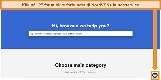 Skærmbillede af NordVPNs hjælpeside med supportknappen i bunden