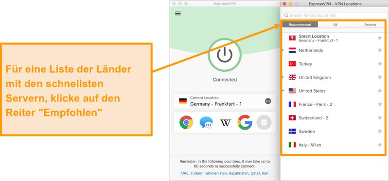 Screenshot der ExpressVPN-App mit empfohlenen Servern