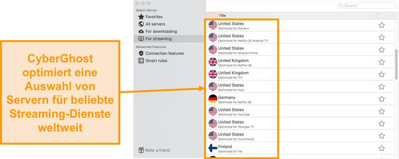 Screenshot der CyberGhost-App für Mac mit den optimierten Servern für das Streaming