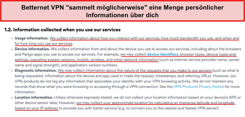 Screenshot der Datenschutzrichtlinie von Betternet VPN