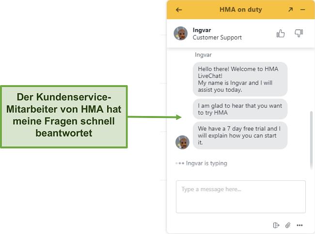 Screenshot des Live-Chats des Kundensupports von HMA