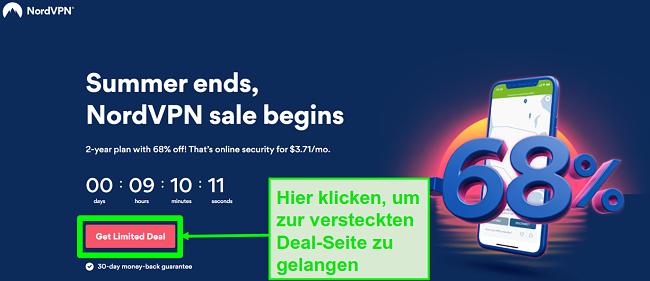 Screenshot der NordVPN-Seite für versteckte Angebote