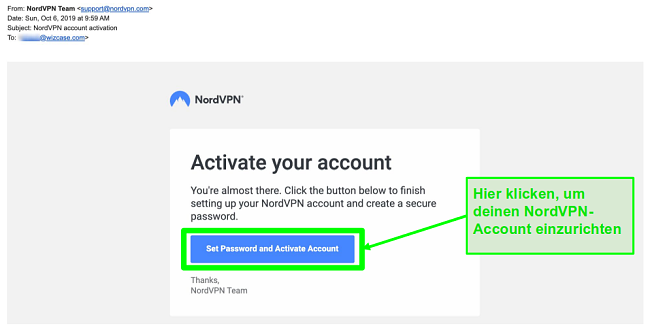 Screenshot der E-Mail zur Aktivierung des NordVPN-Kontos
