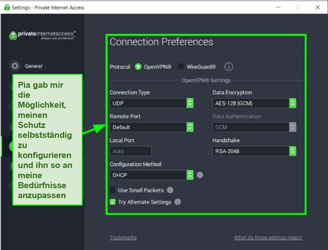 Screenshot der verfügbaren Sicherheitseinstellungen von PIA