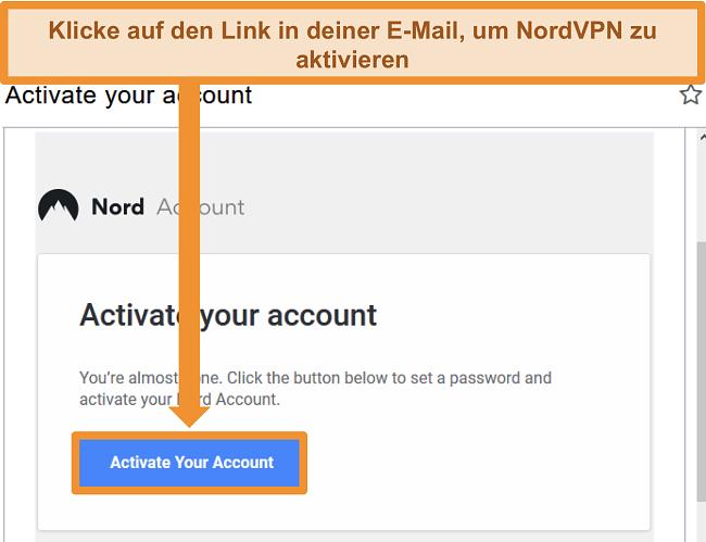 Screenshot der Option zum Aktivieren des NordVPN-Kontos per E-Mail
