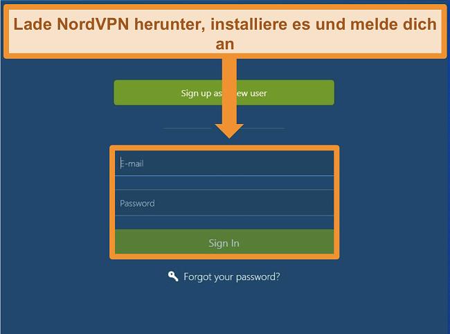 Screenshot des Anmeldebildschirms der NordVPN Windows-App