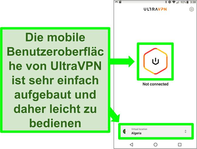 Screenshot der Benutzeroberfläche von UltraVPN auf Android