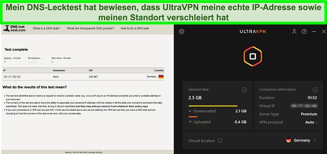 Screenshot eines erfolgreichen DNS-Leak-Tests, während UltraVPN mit einem Server in Deutschland verbunden ist