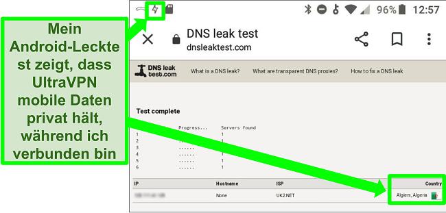 Screenshot eines erfolgreichen DNS-Leak-Tests, während UltraVPN auf Android mit einem Server in Algerien verbunden ist
