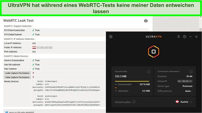 Screenshot eines erfolgreichen WebRTC-Testergebnisses, während UltraVPN mit einem Server in Österreich verbunden ist
