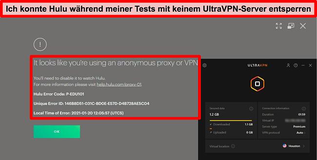 Screenshot des Proxy-IP-Fehlers von Hulus, während UltraVPN mit einem Server in den USA verbunden ist