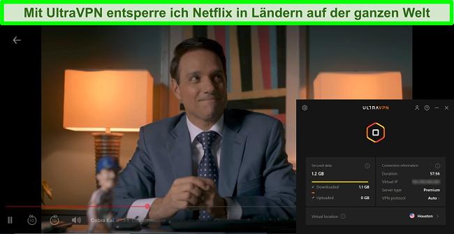 Screenshot von Cobra Kai, die auf Netflix spielt, während UltraVPN mit einem Server in Houston verbunden ist