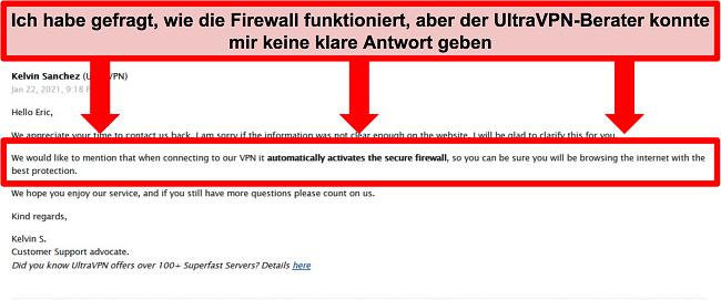 Screenshot einer E-Mail vom technischen Support von UltraVPN