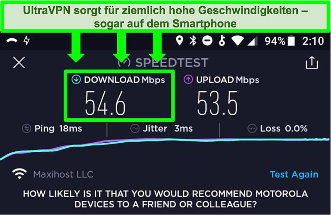 Screenshot eines Verbindungsgeschwindigkeitstests, während UltraVPN mit einem Android-Gerät verbunden ist