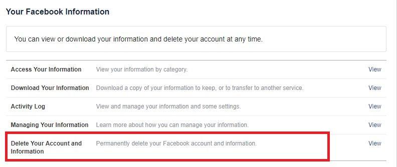 Delete Facebook account Step 4