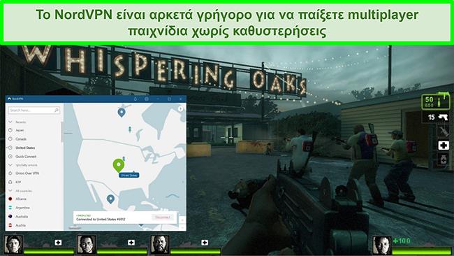 Στιγμιότυπο οθόνης του NordVPN συνδεδεμένο σε διακομιστή των ΗΠΑ ενώ παίζεται το παιχνίδι Left 4 Dead 2