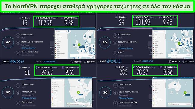 Στιγμιότυπα οθόνης δοκιμών ταχύτητας με το NordVPN συνδεδεμένο σε διαφορετικούς παγκόσμιους διακομιστές