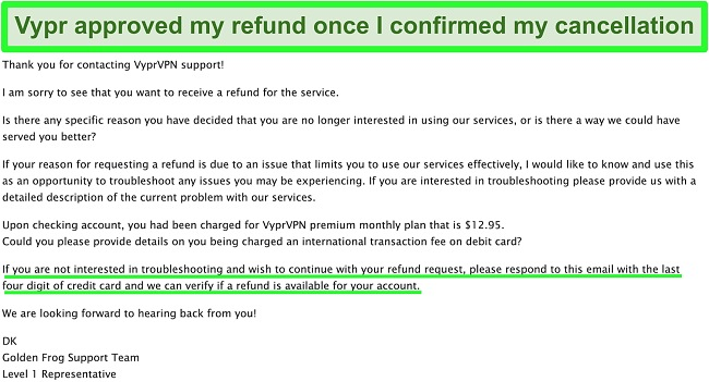 Screenshot of email from VyprVPN customer support team about requesting a refund with the money-back guarantee