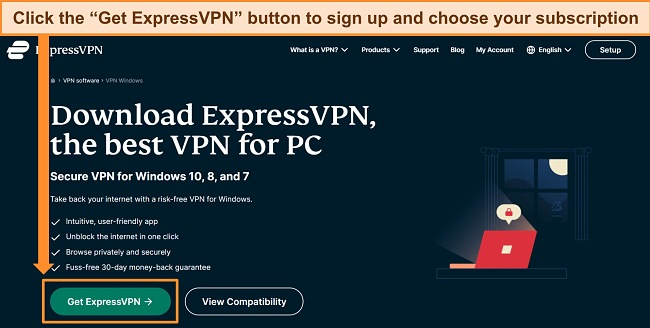 Screenshot of ExpressVPN website highlighting the