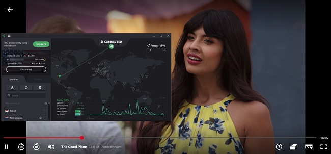 Screenshot of The Good Place streaming with ProtonVPN connected to a US server.