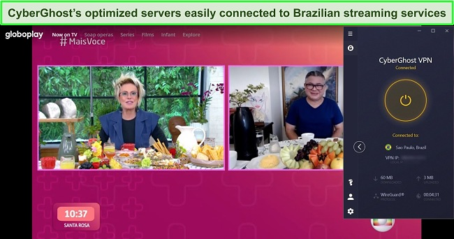 Screenshot of CyberGhost connected to a Brazilian server with GloboPlay streaming in the background.