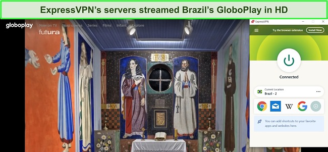Screenshot of Brazil's GloboPlay streaming service playing a show with ExpressVPN connected to a Brazilian server.