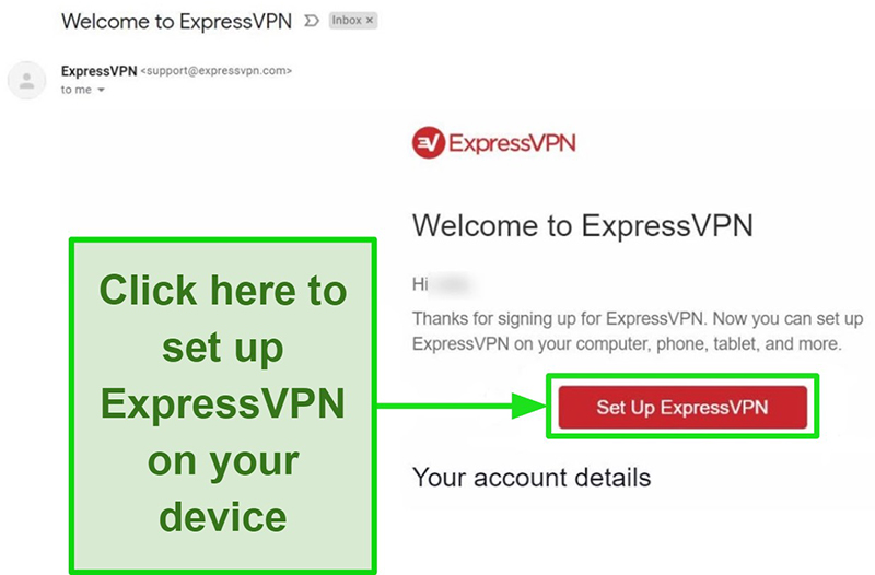 Screenshot of the ExpressVPN email confirmation