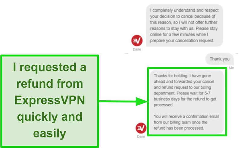 ExpressVPN refund process via live chat