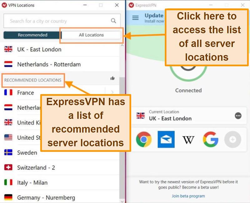 Screenshot of ExpressVPN location lists