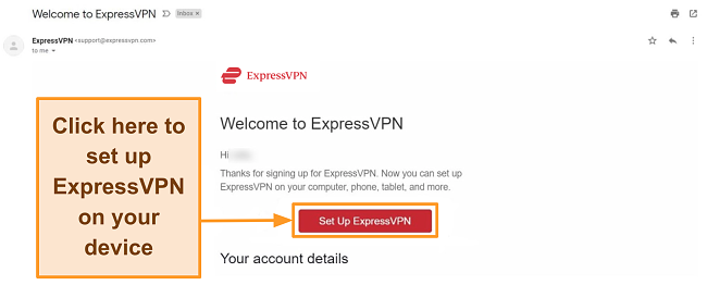 Screenshot of ExpressVPN's welcome email to new customers with set up instructions